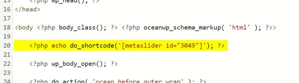 eingefügter Shortcode in der Datei